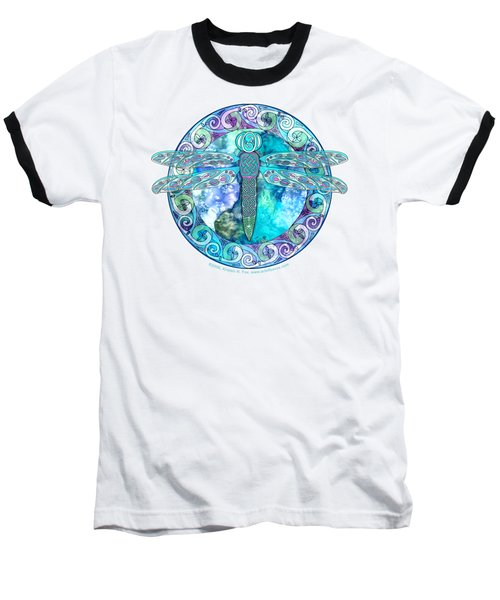 Baseball T-Shirt featuring the mixed media Cool Celtic Dragonfly by Kristen Fox