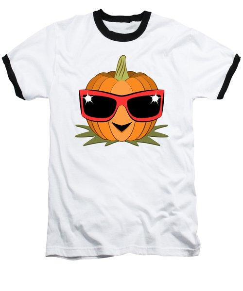 Cool Pumpkin Wearing Retro Nineties Sunglasses Baseball T-Shirt
