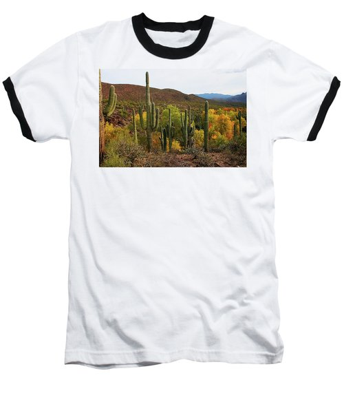 Coon Creek With Saguaros And Cottonwood, Ash, Sycamore Trees With Fall Colors Baseball T-Shirt by Tom Janca