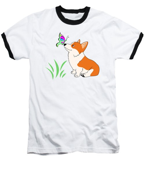Corgi With Butterfly T-shirt Baseball T-Shirt by Kathy Kelly