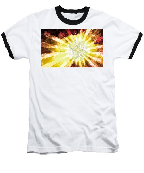 Cosmic Solar Flower Fern Flare 2 Baseball T-Shirt by Shawn Dall