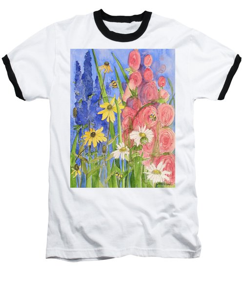 Cottage Garden Daisies And Blue Skies Baseball T-Shirt