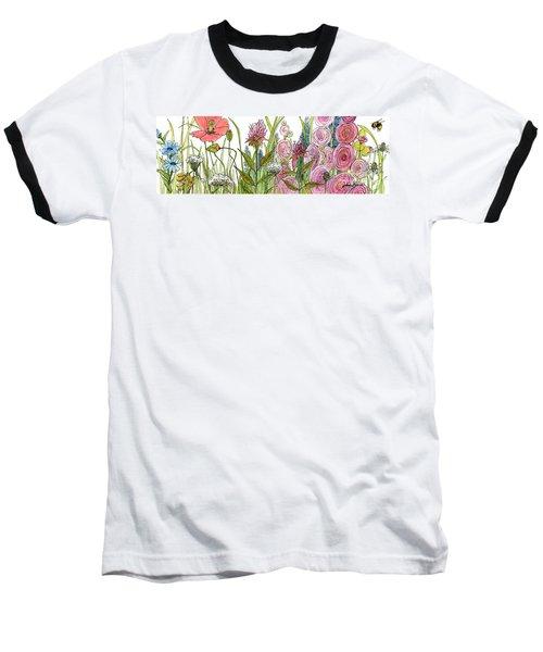 Cottage Hollyhock Garden Baseball T-Shirt