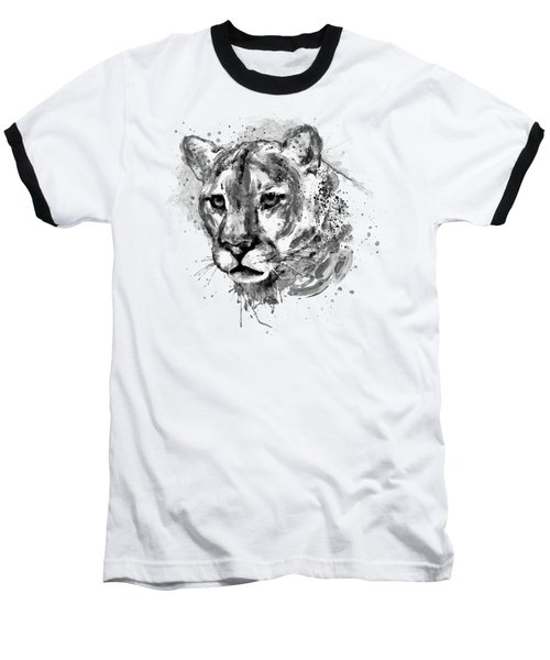 Baseball T-Shirt featuring the mixed media Cougar Head Black And White by Marian Voicu
