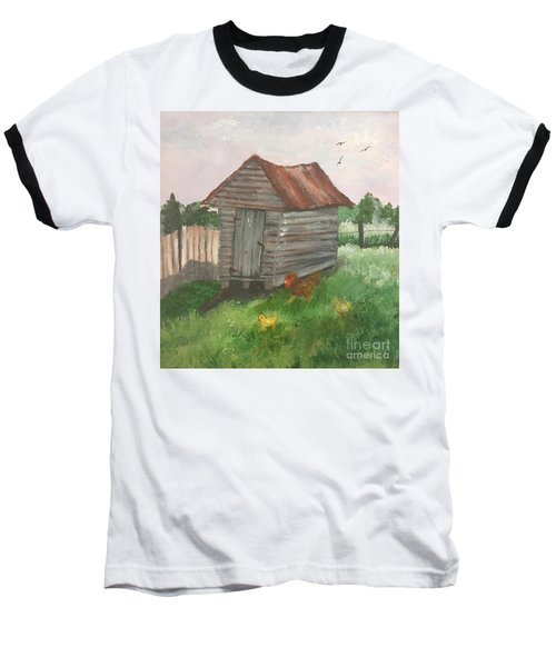 Baseball T-Shirt featuring the painting Country Corncrib by Lucia Grilletto