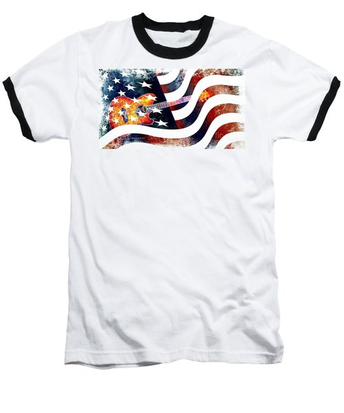 Country Music Guitar And American Flag Baseball T-Shirt by Annie Zeno
