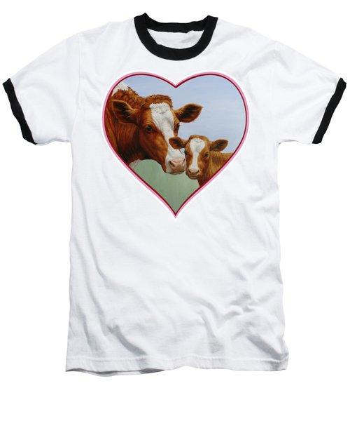 Cow And Calf Pink Heart Baseball T-Shirt