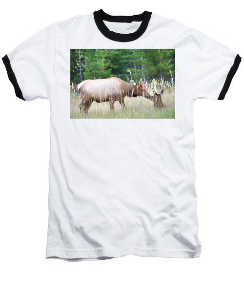 Cow Elk And Spring Baby Baseball T-Shirt