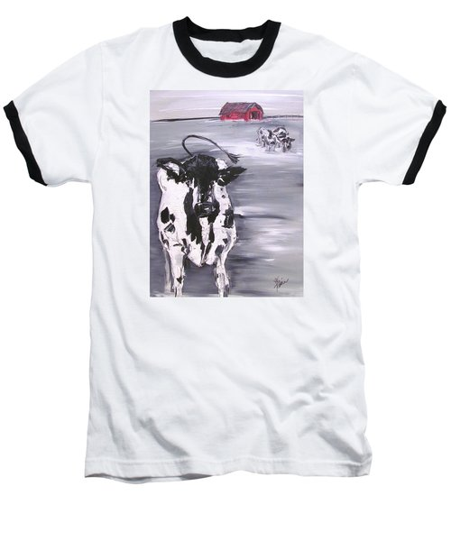 Cow In Winter Baseball T-Shirt