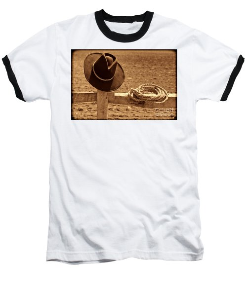 Cowboy Hat And Rope On A Fence Baseball T-Shirt