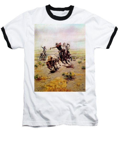 Cowboy Roping A Steer Baseball T-Shirt