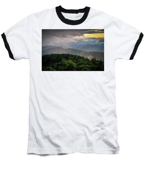Cowee Mountain Sunset Baseball T-Shirt by Serge Skiba