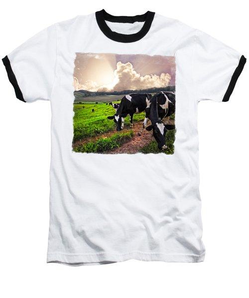 Cows At Sunset Bordered Baseball T-Shirt