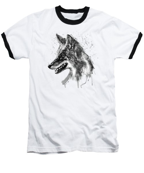 Baseball T-Shirt featuring the mixed media Coyote Head Black And White by Marian Voicu