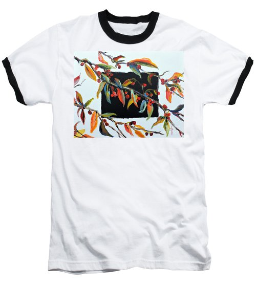 Crabapple Branches With Black Baseball T-Shirt