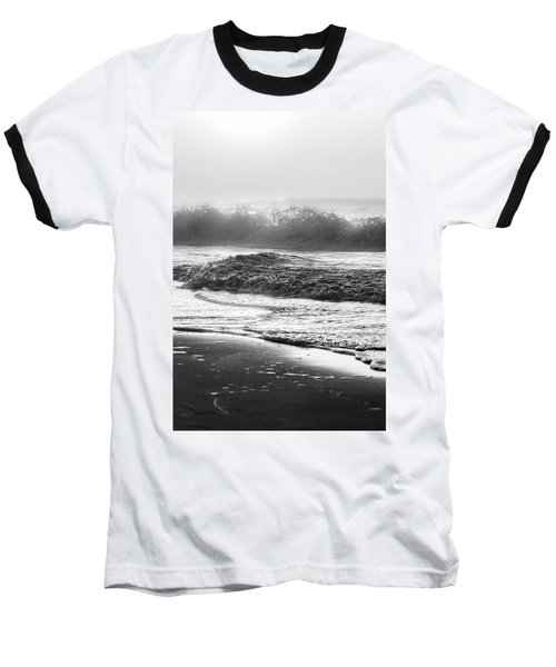 Baseball T-Shirt featuring the photograph Crashing Wave At Beach Black And White  by John McGraw