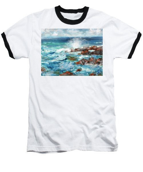 Crashing Waves Baseball T-Shirt by Walter Fahmy