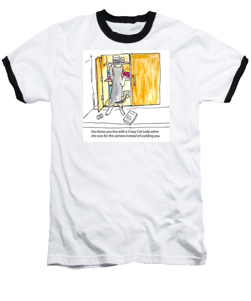 Baseball T-Shirt featuring the painting Crazy Cat Lady 001 by Lou Belcher
