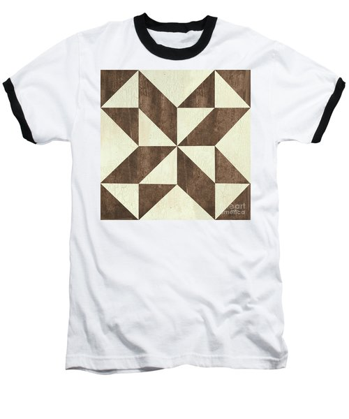 Baseball T-Shirt featuring the painting Cream And Brown Quilt by Debbie DeWitt