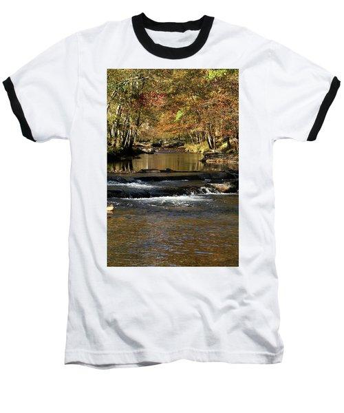 Creek Water Flowing Through Woods In Autumn Baseball T-Shirt