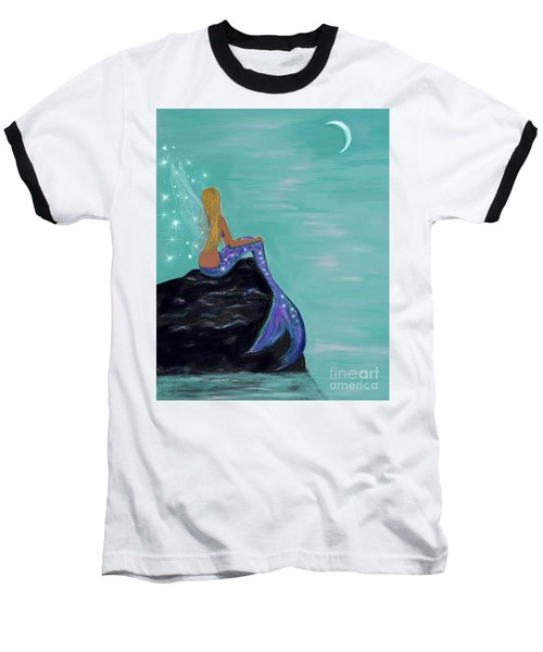 Baseball T-Shirt featuring the painting Crescent Mermaid Moon Fairy by Leslie Allen