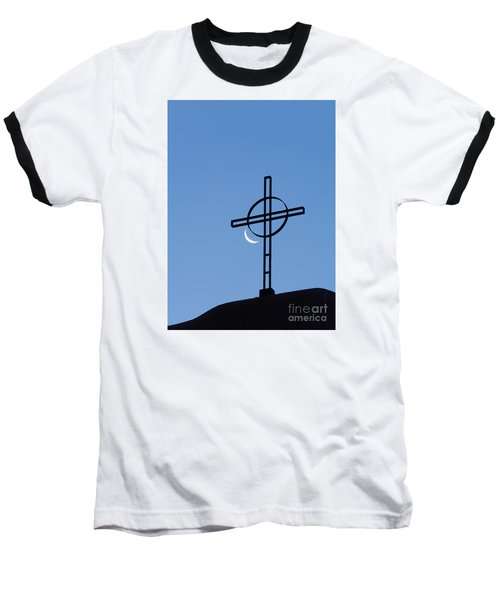 Crescent Moon And Cross Baseball T-Shirt