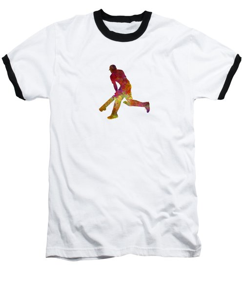 Cricket Player Batsman Silhouette 03 Baseball T-Shirt by Pablo Romero