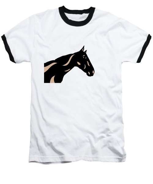 Crimson - Pop Art Horse - Black, Hazelnut, Island Paradise Blue Baseball T-Shirt
