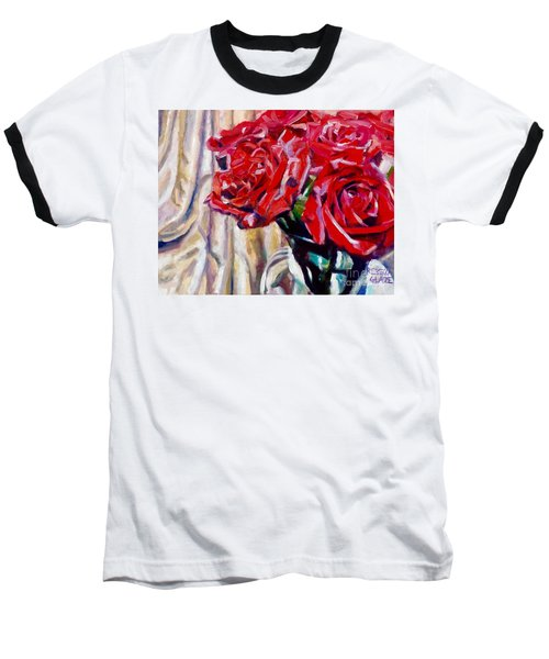 Baseball T-Shirt featuring the painting Crimson  Petals by Rebecca Glaze