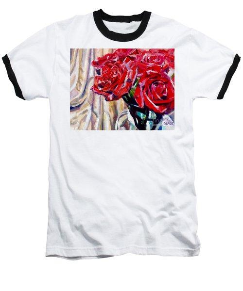 Crimson  Petals Baseball T-Shirt by Rebecca Glaze