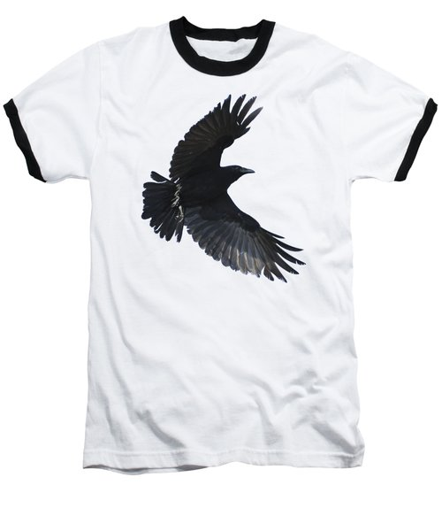 Crow In Flight Baseball T-Shirt