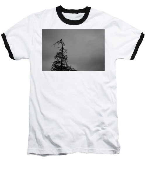 Crow Perched On Tree Top - Black And White Baseball T-Shirt