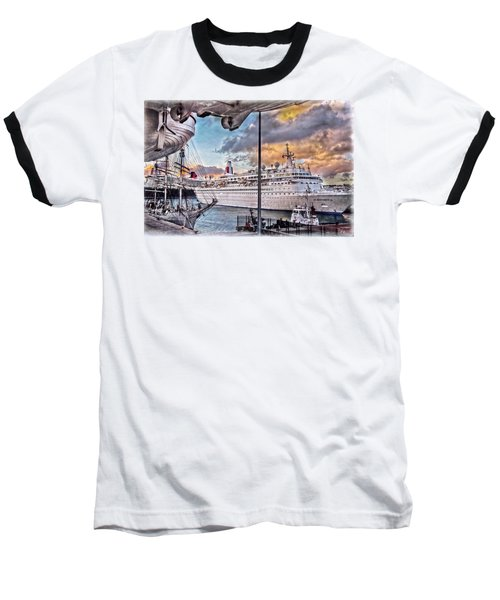 Baseball T-Shirt featuring the photograph Cruise Port - Light by Hanny Heim