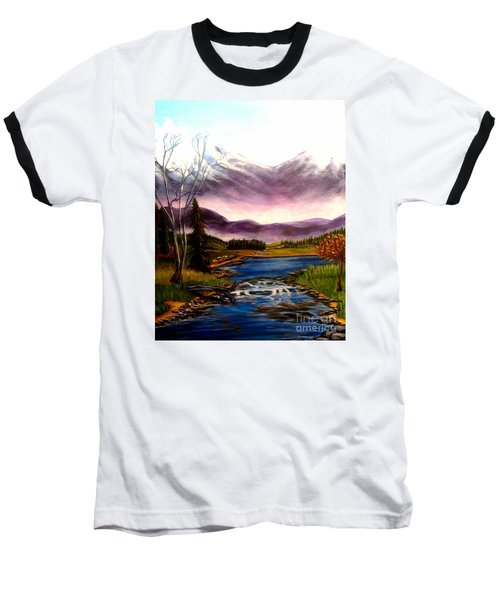 Baseball T-Shirt featuring the painting Crystal Lake With Snow Capped Mountains by Kimberlee Baxter