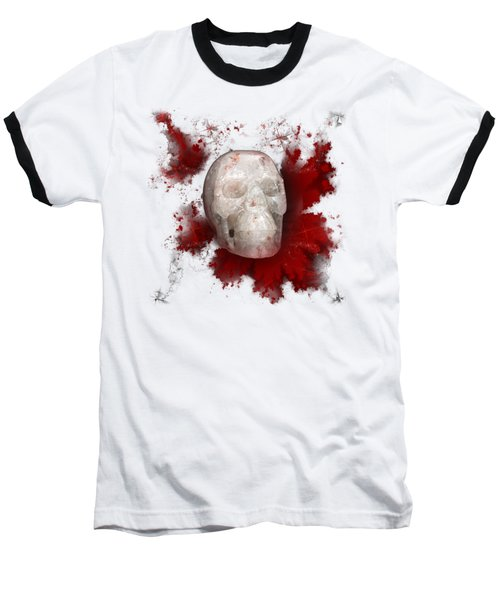 Crystal Skull With Red On Transparent Background Baseball T-Shirt by Terri Waters