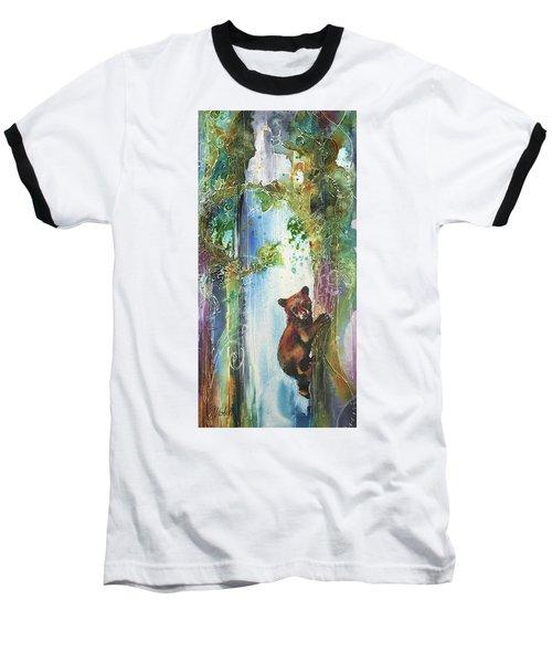 Cub Bear Climbing Baseball T-Shirt by Christy Freeman