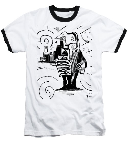 Cubist Waiter Baseball T-Shirt