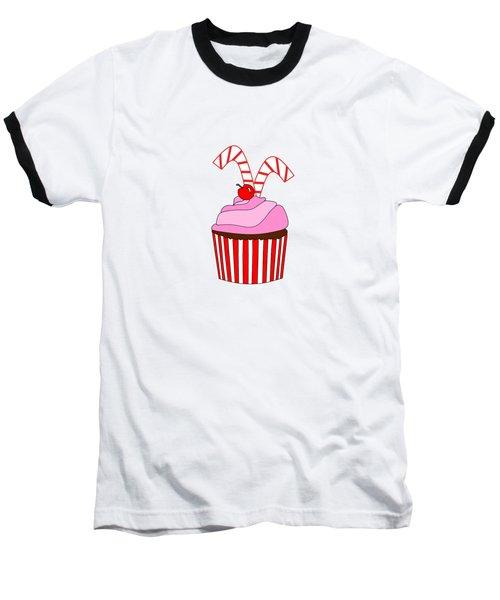 Cupcakes And Candy Canes - Christmas Baseball T-Shirt