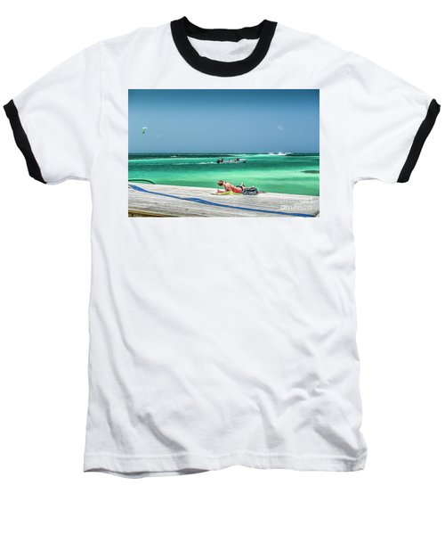 Curious Bikini Clad  Sunbather Baseball T-Shirt