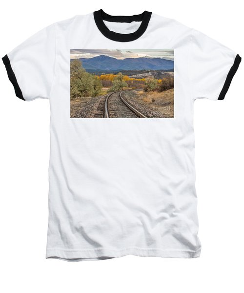 Baseball T-Shirt featuring the photograph Curve In The Tracks In Autumn by Sue Smith