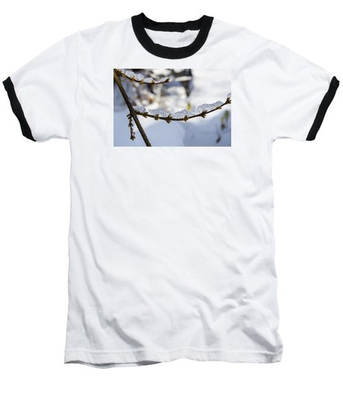 Baseball T-Shirt featuring the photograph Curved Clumps Of Ice by Deborah Smolinske