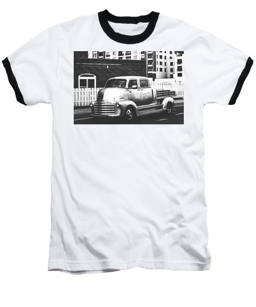 Baseball T-Shirt featuring the photograph Custom Chevy Asbury Park Nj Black And White by Terry DeLuco