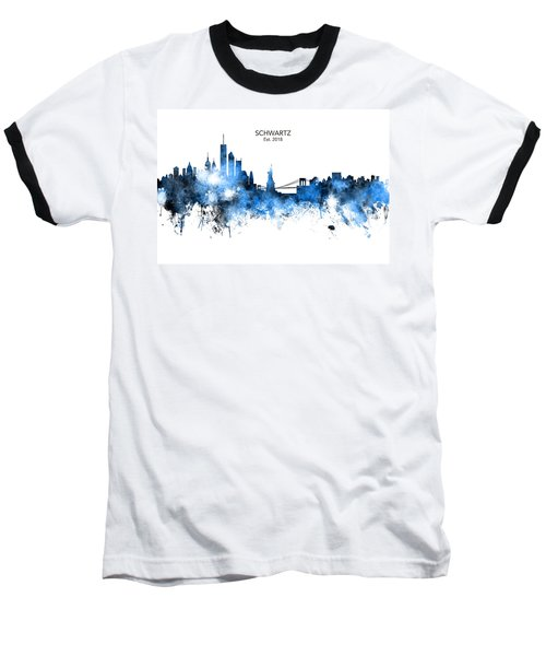Custom New York Skyline Baseball T-Shirt