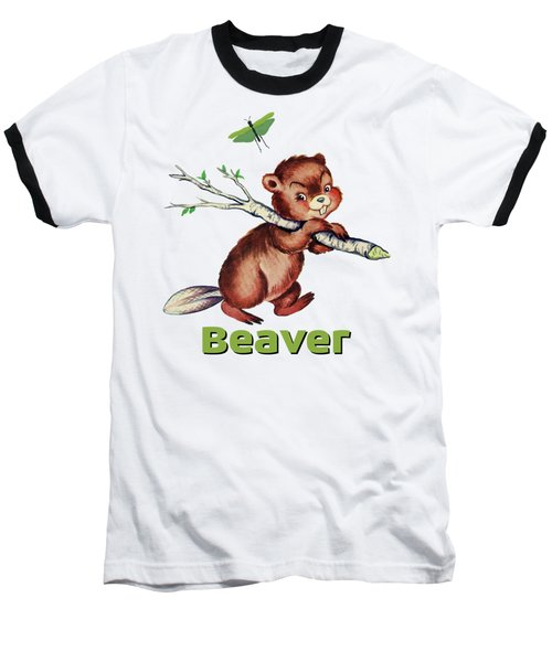 Cute Baby Beaver Pattern Baseball T-Shirt