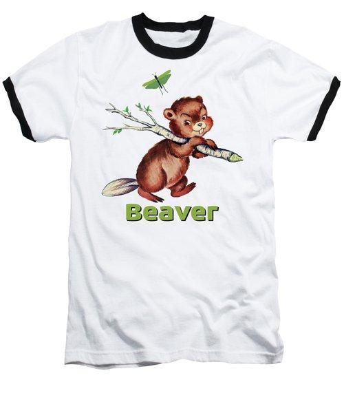 Cute Baby Beaver Pattern Baseball T-Shirt