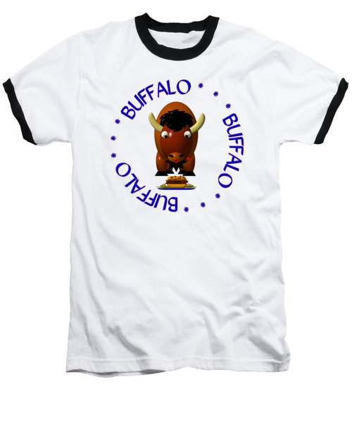 Cute Buffalo With Beef On Weck And Buffalo Wings Baseball T-Shirt by Rose Santuci-Sofranko