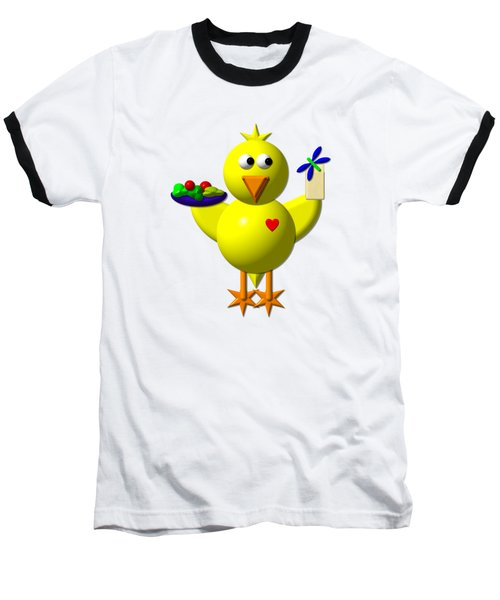Cute Canary With Salad And Milk Baseball T-Shirt