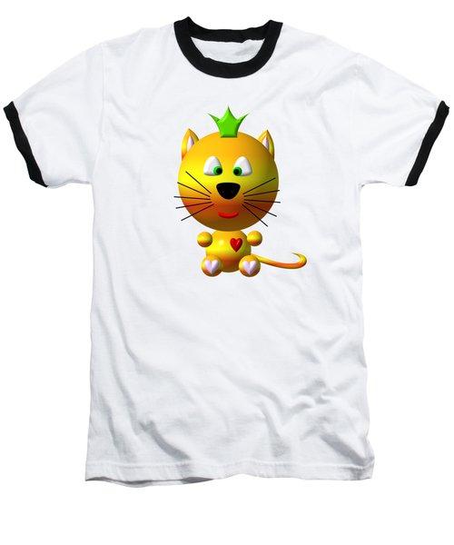 Cute Cat With Crown Baseball T-Shirt