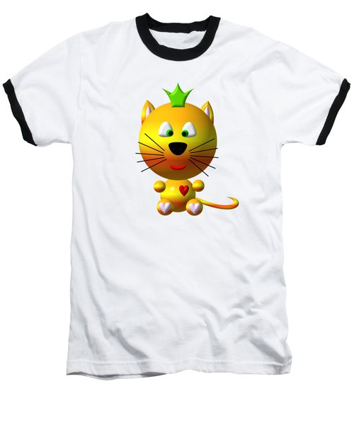 Cute Cat With Crown Baseball T-Shirt