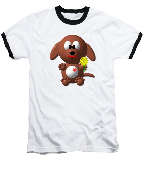 Baseball T-Shirt featuring the digital art Cute Dog With Dandelion by Rose Santuci-Sofranko